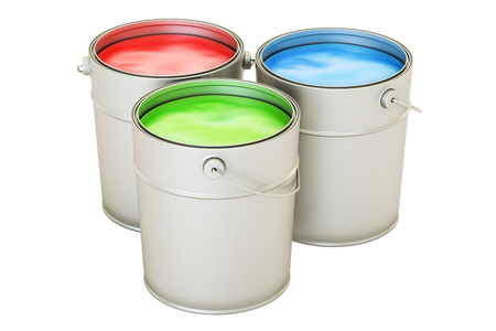 Cans with color paint, RGB concept. 3D rendering isolated on white background