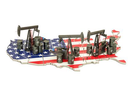 오일 배럴과 pumpjacks와 함께 미국지도입니다. 석유 생산 개념입니다. 3D 렌더링