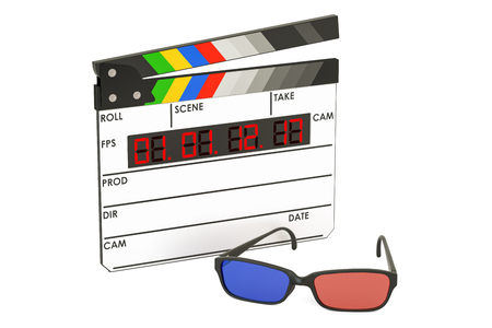 eyewear: 3D cinema concept, 3D glasses and digital movie clapper board, 3D rendering