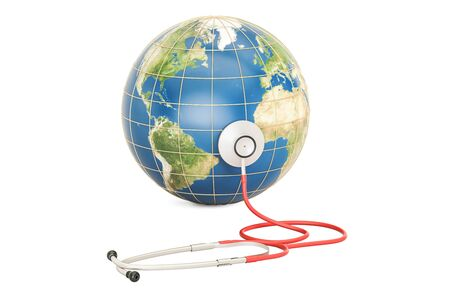 Globe Earth with stethoscope. Global healthcare, World Health Day concept. 3D rendering