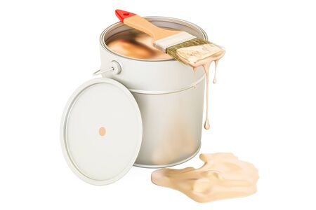 paint can: Can with golden paint and brush, 3D rendering