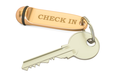 Check in concept, hotel key. 3D rendering isolated on white background Stock Photo