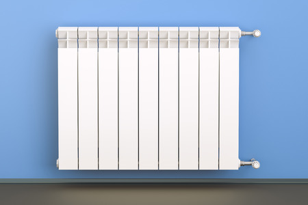 heating radiator with radiator thermostatic valve on the wall, 3D rendering Zdjęcie Seryjne