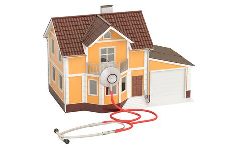House with stethoscope, 3D rendering isolated on white background
