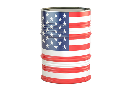 Oil barrel with flag of USA. Oil production and trade concept, 3D rendering