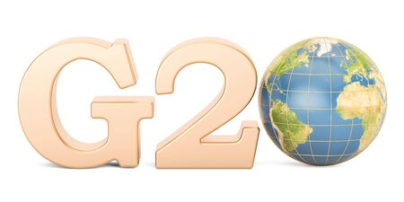 G20 concept. Golden inscription with Earth globe, 3D rendering isolated on white background