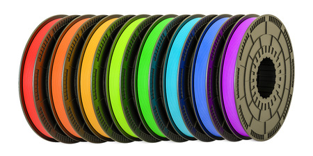 3D printer filaments, 3D illustration isolated on white background Stock Photo