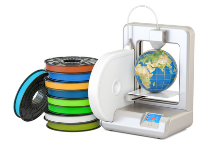 Modern 3D printer with Earth globe, 3D rendering isolated on white background Stock Photo