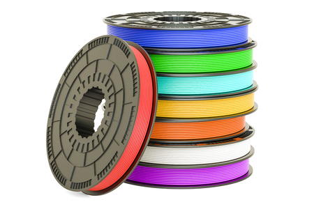 Set of colored 3D printer filaments, 3D illustration isolated on white background