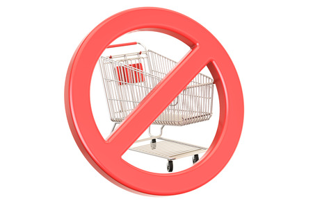 Shopping cart with forbidden, prohibition sign. 3D rendering isolated on white background
