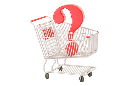 Shopping cart with question mark, 3D rendering