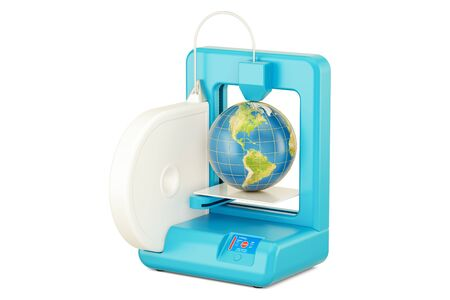 3D printer with Earth globe, 3D rendering isolated on white background Stock Photo
