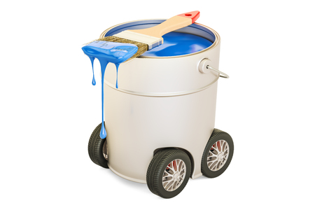 Can with blue paint and brush on the car wheels, 3D rendering isolated on white background