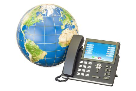 Global communication concept. IP phone with Earth globe, 3D rendering isolated on white background Stock Photo