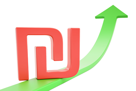 Growth green arrow with symbol of shekel, 3D rendering