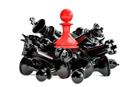 chess rook: Leader and winner concept with chess figures. 3D rendering isolated on white background