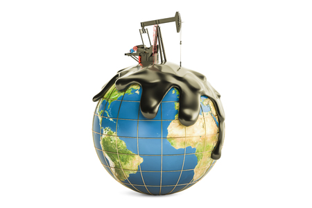 disaster: Pumpjack with crude oil on the Earth globe, oil production concept. 3D rendering isolated on the white background