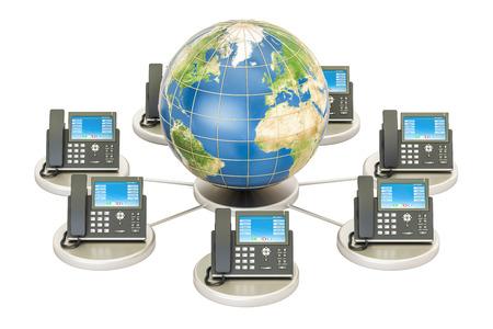 Concepto de VoIP con globo de la tierra, concepto de comunicación global. Representación 3D aislada sobre fondo blanco