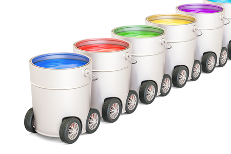 Cans with paint on the car wheels, 3D rendering isolated on white background