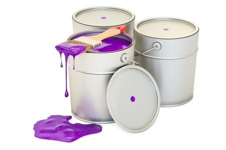 Cans with purple paint and brush, 3D rendering isolated on white background Banque d'images