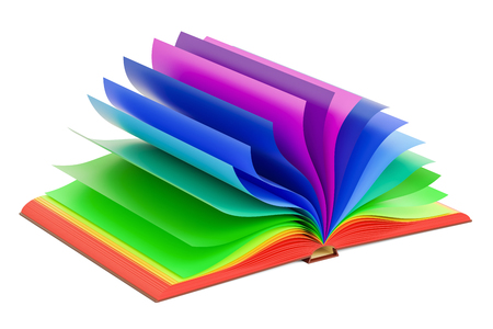 Multicolored opened book, 3D rendering isolated on white background