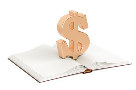 Opened blank book with dollar symbol, 3D rendering isolated on white background