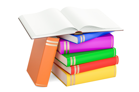Opened blank book with heap of closed books, 3D rendering isolated on white background Stock Photo