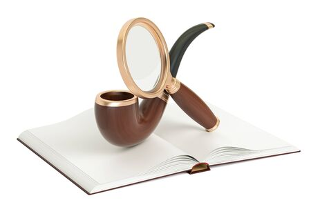 Opened blank book with magnifier and smoking pipe, 3D rendering Stock Photo