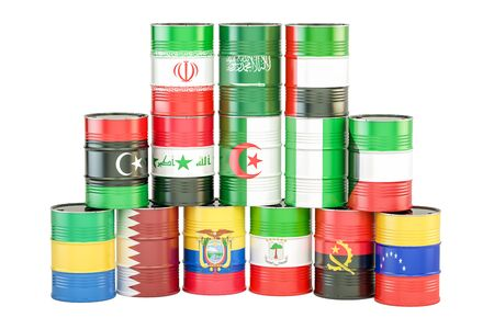 OPEC concept, oil barrels with flags. 3D rendering isolated on white background