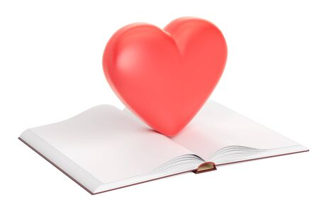 Opened blank book with red heart, 3D rendering Stock Photo