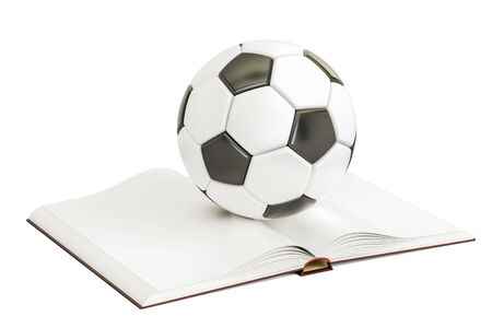 Opened blank book with soccer ball, 3D rendering isolated on white background Stock Photo