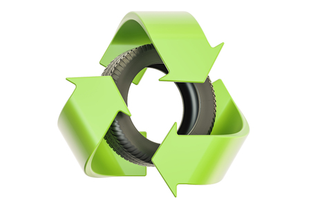 Car tire with recycle symbol, 3D rendering isolated on white background