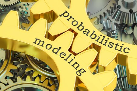 probabilistic modeling concept on the gearwheels, 3D rendering