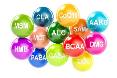 paba: Set of amino acids. AAKG, ALC, BCAA, CLA, CoQ10, GABA, DGL, HMB, MCT, MSM, SAMe, DMG, PABA, 3D rendering isolated on white background