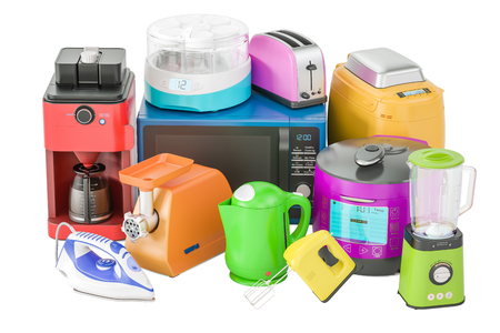 bread maker: Set of colored kitchen home appliances. Toaster, kettle, mixer, blender, yogurt maker, multicooker, grinder, bread machine, 3D rendering isolated on white background