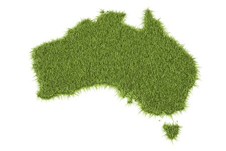 Australia map from green grass, 3D rendering isolated on white background