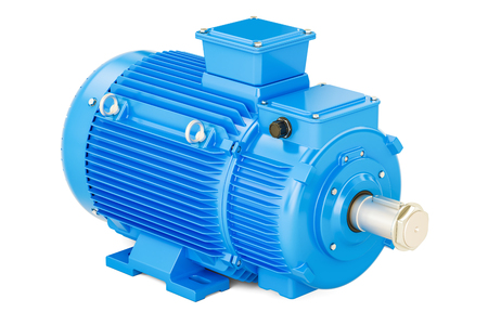 Bleu moteur électrique industriel, rendu 3D isolé sur fond blanc Banque d'images