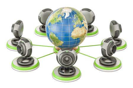 Concepto de comunicación global, globo de tierra con webcams. Representación 3D aislada sobre fondo blanco Foto de archivo - 79549538