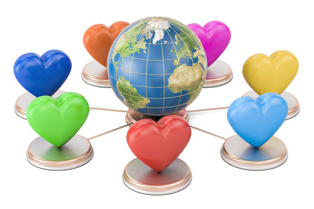 Online dating concept. Earth globe with colored hearts, 3D rendering isolated on white background