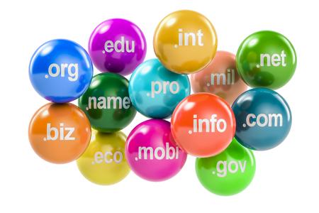 Set di palle colorate con nomi a dominio, rendering 3D