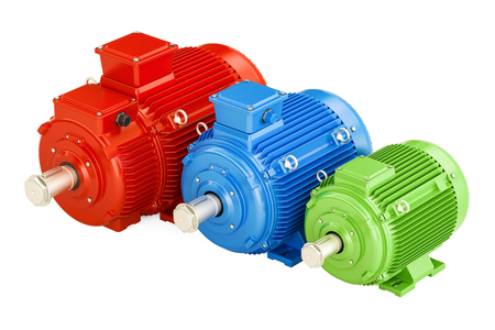 turbine engine: Set of industrial electric motors, 3D rendering isolated on white background