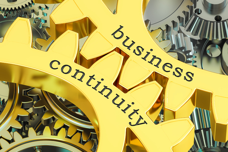 business continuity concept on the gearwheels, 3D rendering