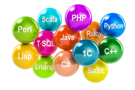 Set of colored balls with programming languages names, 3D rendering Stock Photo