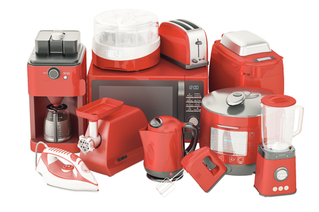 Captivating Set Of Red Kitchen Home Appliances. Toaster, Kettle, Coffeemaker, Iron,  Microwave