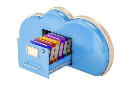 Cloud Storage Concept, 3D-weergave geïsoleerd op een witte achtergrond Stockfoto