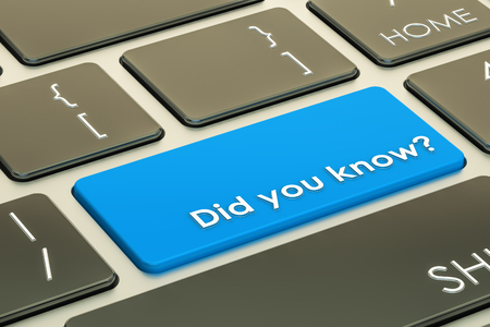 Did you know? Button on keyboard. 3D rendering Stock fotó