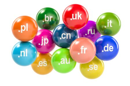 Set of colored balls with country code top-level domain names, 3D rendering