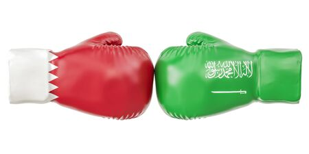 Boxing gloves with Qatar and Saudi Arabia flags. Governments conflict concept, 3D rendering