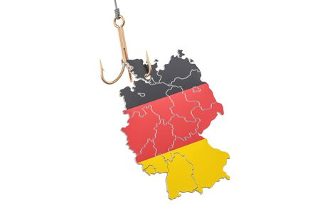 Fishing hook with map of Germany, 3D rendering