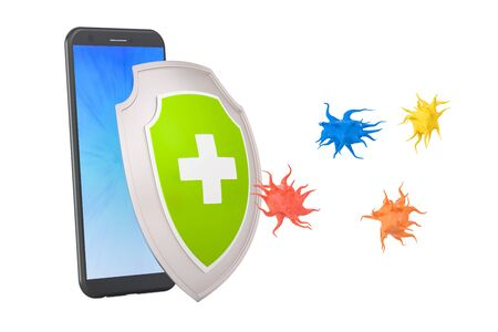 Phone security and antivirus protection concept, 3D rendering Stock Photo